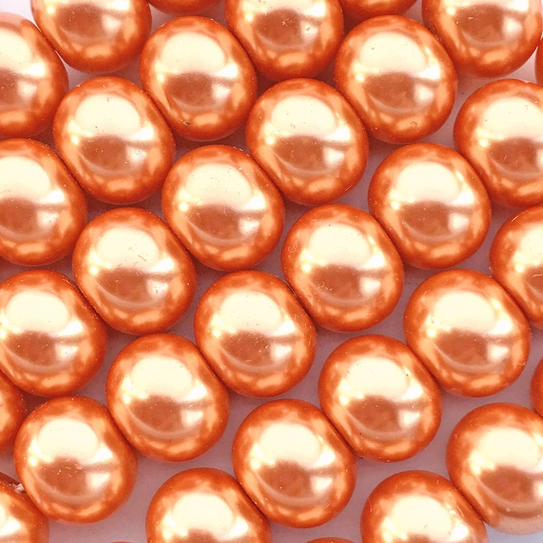 48 Peach Glass Pearl Beads About 8mm x 10mm Rondelle with a image 0