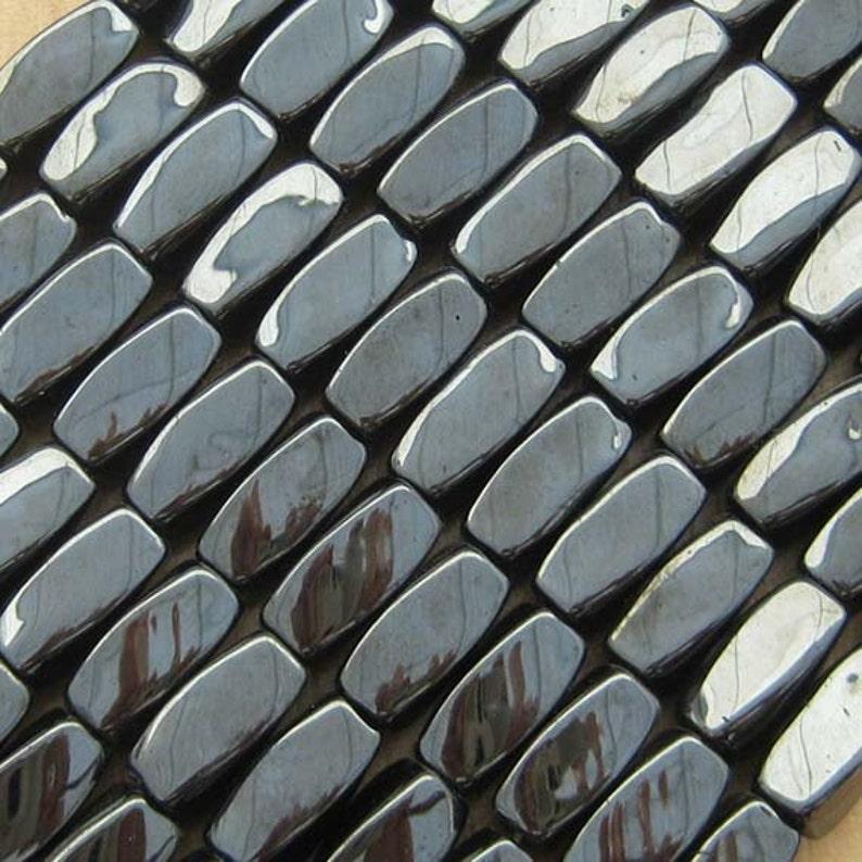14 Magnetic Hematite Twist Beads Gunmetal Gray A Grade image 0