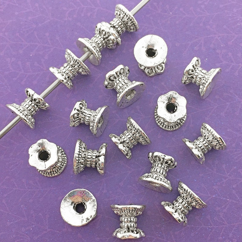 16 Double Sided Bead Caps Antique Silver Plated About 8mm x image 0