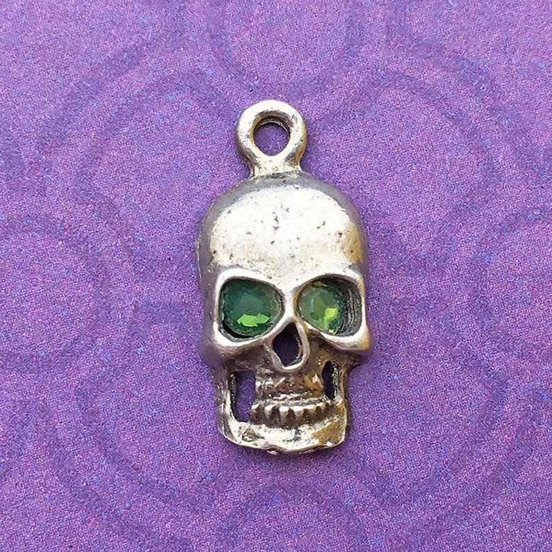 Handmade Skull Charm with Fern Green Crystal Eyes Lead Free image 0