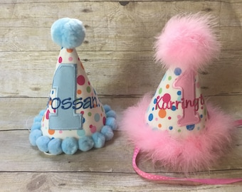 Boy Girl First Birthday Personalized Brother Sister Party Hats Set