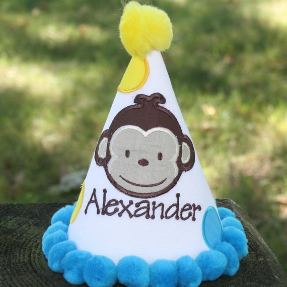 Personalized Modern Monkey Birthday Hat