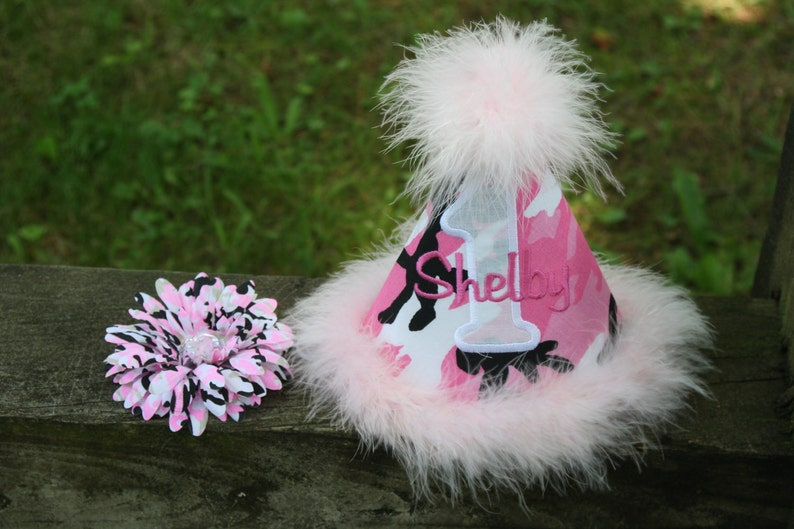 Personalized Camo Cutie Party Hat 1st Birthday Etsy