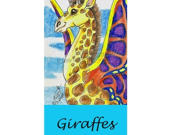 Carousel Giraffe Fairy Butterfly Bookmark Print Kim Loberg Fantasy Animal Ebsq Art