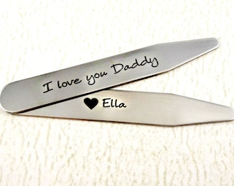 CS713 Custom love you collar stays in aluminum for personalized gifts