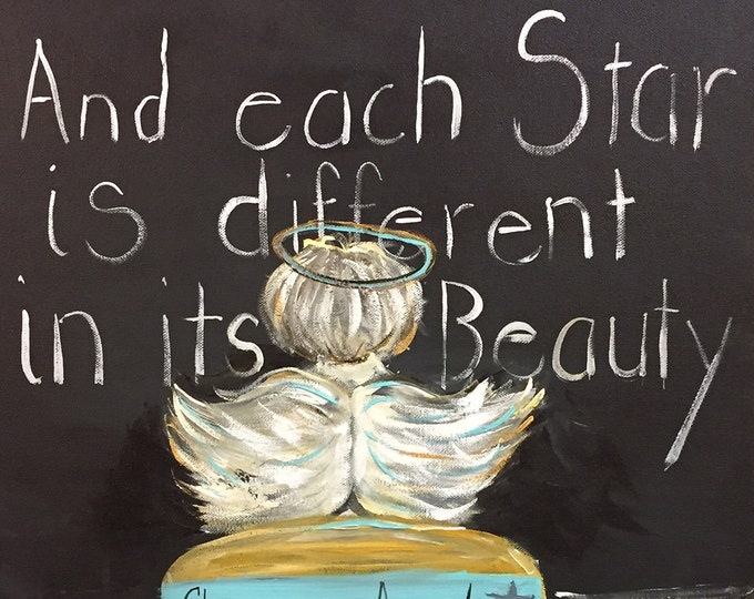 Classroom Angel Painting Art Prints and Note Cards |  Each Star is Different in its Beauty | Let Their Little Lights Shine |