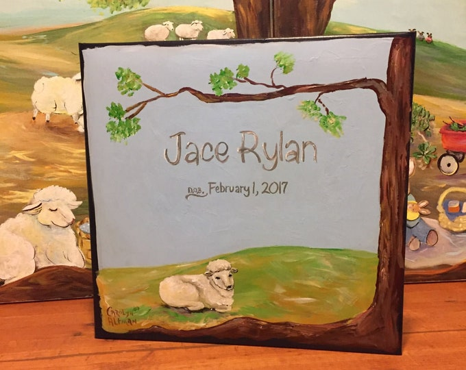 Little Lamb Baby Memory Book   Hand Painted CoverSweet Baby Lamb Keepsake Book    Personalized Scrapbook Style Baby Book