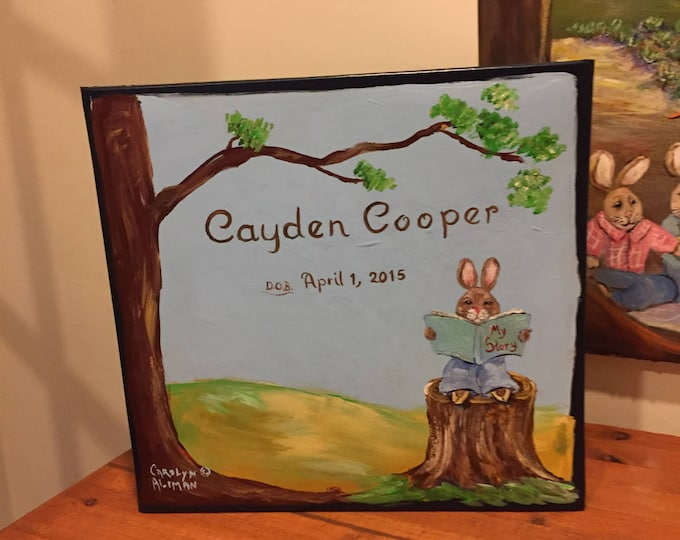 Sweet Rabbits Baby Memory Book, Hand Painted and Personalized Cover, Matching Bunny Pages, Keepsake Book, Unique Baby Book, Carolyn Altman