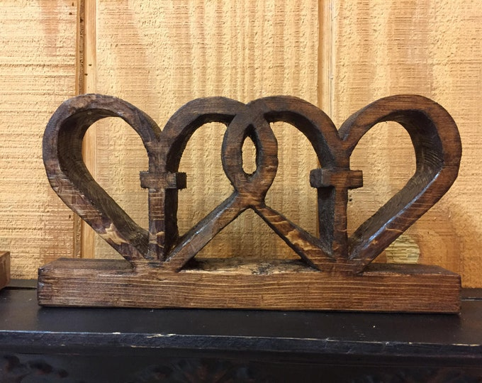 Entwined Wooden Hearts and Cross Uniquely Made