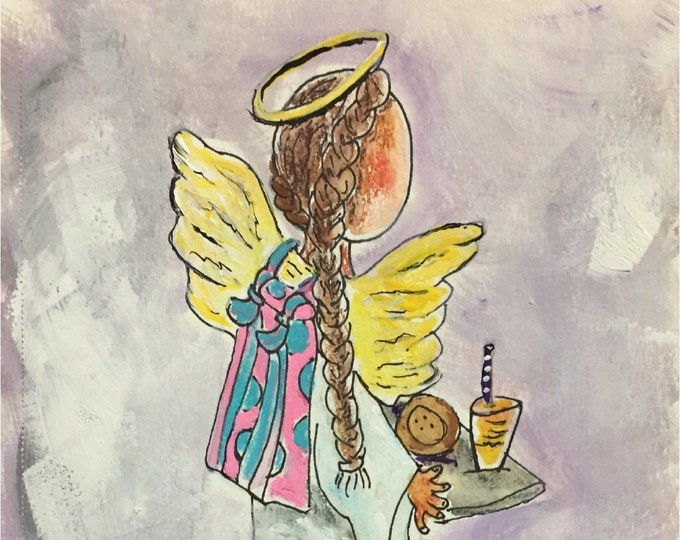 Angel in the Lunch Line Blank Note Cards | Carolyn Altman Artist