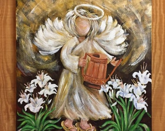 Consider the Lilies Angel Painting | Art Prints | Blank Note Cards Artist Carolyn Altman