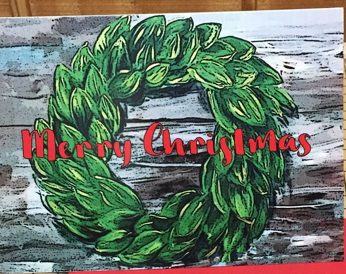 Country Christmas Magnolia Wreath Christmas Cards | Package of 20 Folded Cards