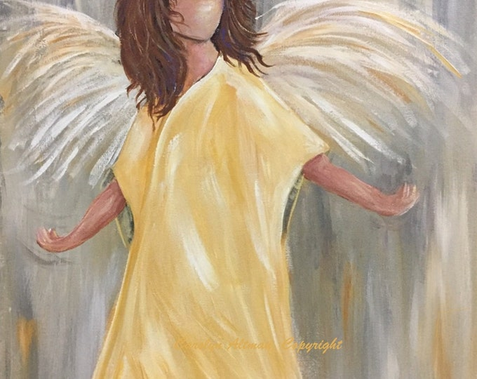 No Worries Angel Painting Note Cards and Art Prints | Original painting is sold. Carolyn Altman Artist