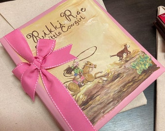 Cowgirl Keepsake Baby | Calf Roper Baby Memory Book | Cowgirl Pink | Personalized Western Baby Memory Book | Cowgirl Calf Roper | Scrapbook