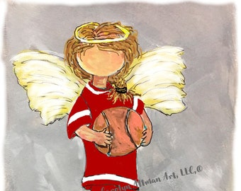 Little Girl Angel on the Basketball Court with wings Art Prints and Note Cards| God is My Referee He wrote the Rules | Carolyn Altman Art
