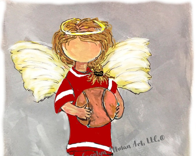 Little Girl Angel on the Basketball Court Art Prints and Note Cards| God is My Referee He wrote the Rules | Carolyn Altman Art