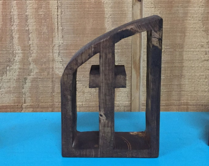 Wooden Cross Carving | One piece Wooden Cross and Frame | Approximately 5 inches Tall