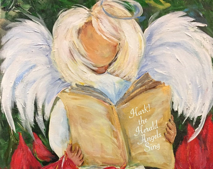Hark the Herald and Angel Sings | Poinsettia Christmas Angel Painting | Carolyn Altman Art