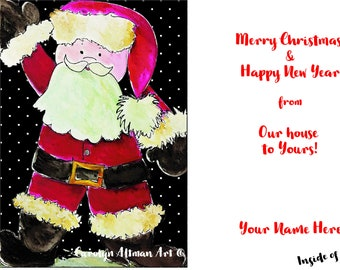 Merry Christmas and Happy New Year Personalized Santa Clause Christmas Cards  Package of 20