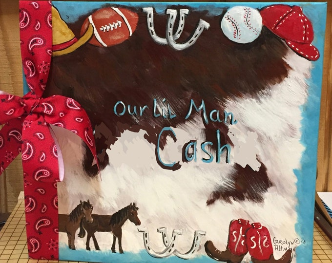 Our Lil' Man a Cowboy Baby Memory Book | Cowboy and Sports Design