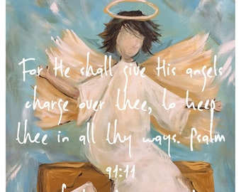 Travel Angel Art Prints and Greeting Cards Blank Inside | Psalm 91 |Travel Blessings