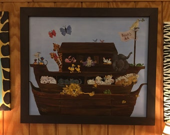 Noah's Ark Painting | Cute Animals in a Boat Two by Two painting, note cards and art print | Genesis