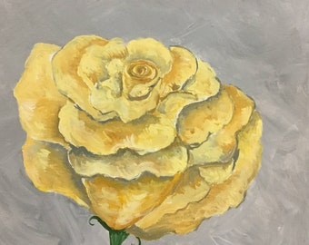 A Single Yellow Rose Painting | Yellow Rose Original Painting