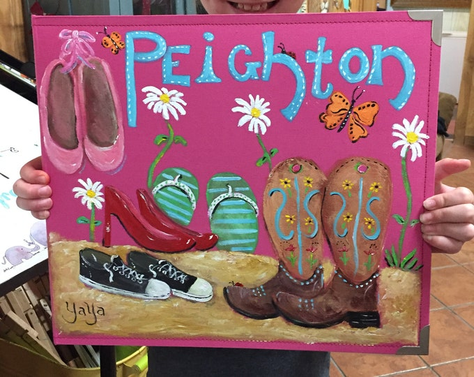 School Years Scrapbook Personalized | Cute Shoes Ballerina Shoes Cowgirl Boots Flip Flops Painted Scrapbook Cover | Kindergarten  12th Grade