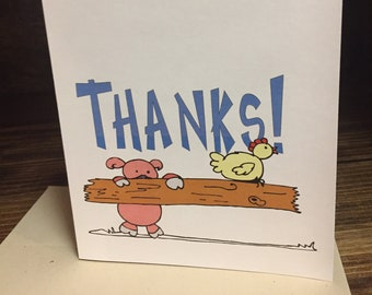 Thanks! Little Pig and Chicken Thank You Card | A Great Stock Show Thank You Card