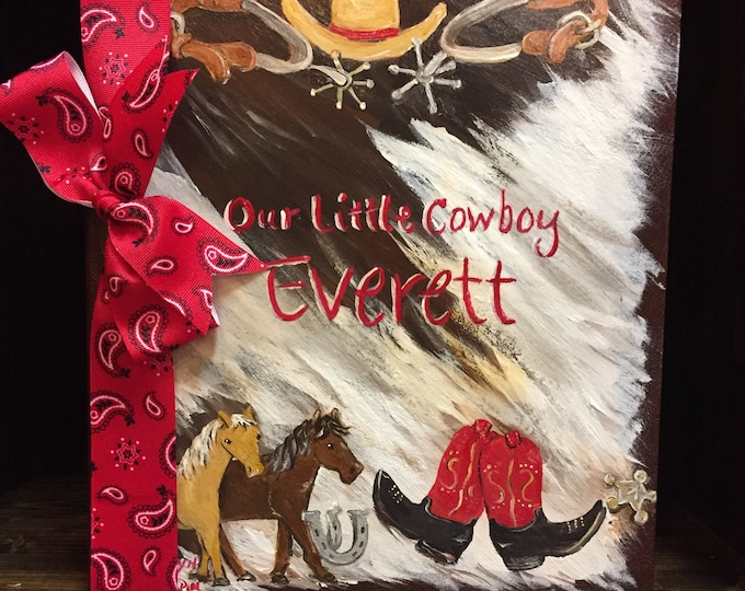 Our Little Cowboy Cowhide Painting  Baby Memory Book | Boots, Hat, Spurs, Horseshoes and Horses Hand Painted and Personalized Cover
