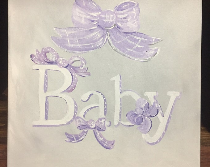 Baby Bows Baby Nursery Painting a Purple and Gray Bow Painting