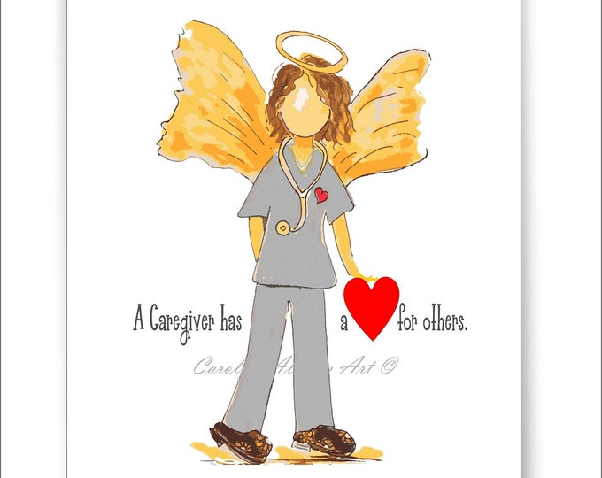 Caregiver Angel Painting Note Cards and Angel Art Prints