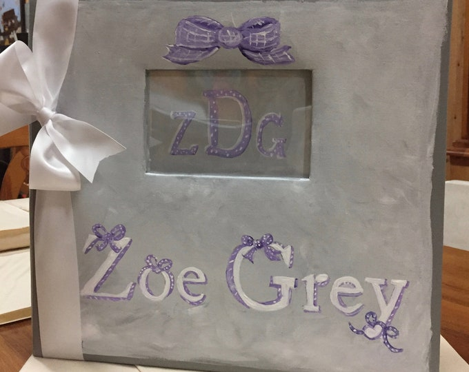 Little Bitty Girl Baby Memory Scrapbook with Pretty Bows a Wonderful Keepsake Purple and Gray