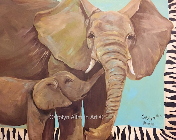 Large Elephant and Baby Painting with Turquoise background and Zebra Border, 24 inch by 36 inch Acrylic Painting