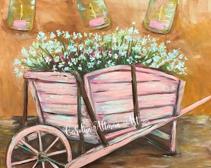 Rustic Pink Wheelbarrow and  Baby's Breath Painting