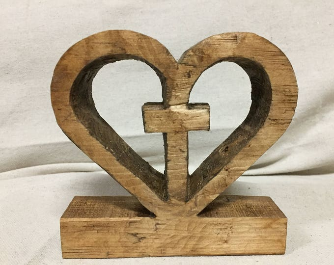 C. Jesus Dwells in My Heart Wooden Design | Unique Wooden Heart Cross Design | Rustic Stain