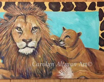 Male Lion and Baby Lion Cub Acrylic Medium Painting | Giraffe Border and Turquoise Background