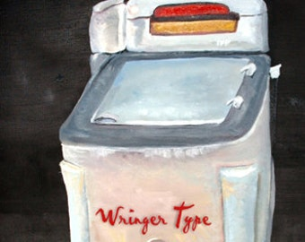 Vintage Art of Wringer Type Washer Laundry Room Art Print | Vintage Art of Wringer Washer Greeting Cards | Antique Washer Art