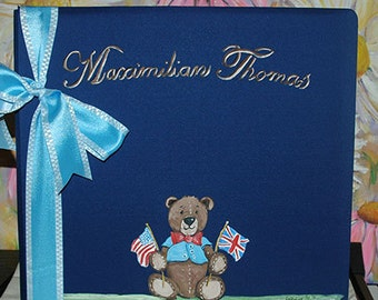 Patriotic Teddy Bear Baby Memory Book