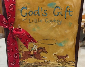 Little Cowboy Adoption Baby Memory Book, calf roper and calf painting on cowboy baby keepsake book, Glory Bee Baby Brand, Carolyn Altman
