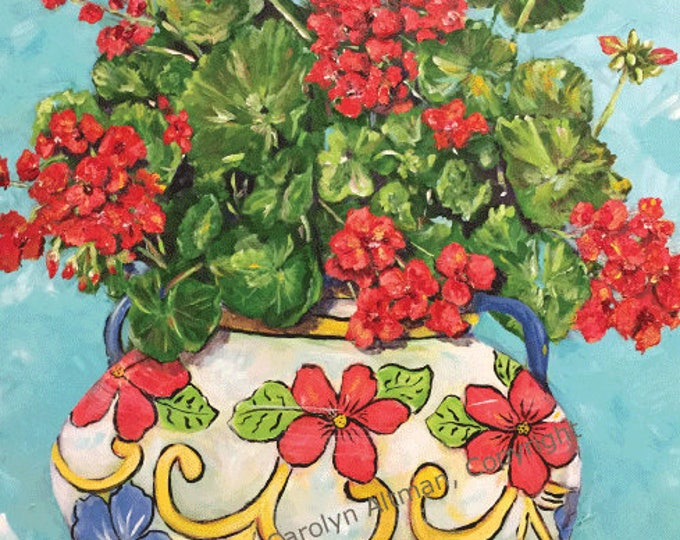 Geranium Painting in a Flower Pot | Framed Original, Unframed Art Prints and Note Cards |  Carolyn Altman, Artist | Bright Color Floral Art