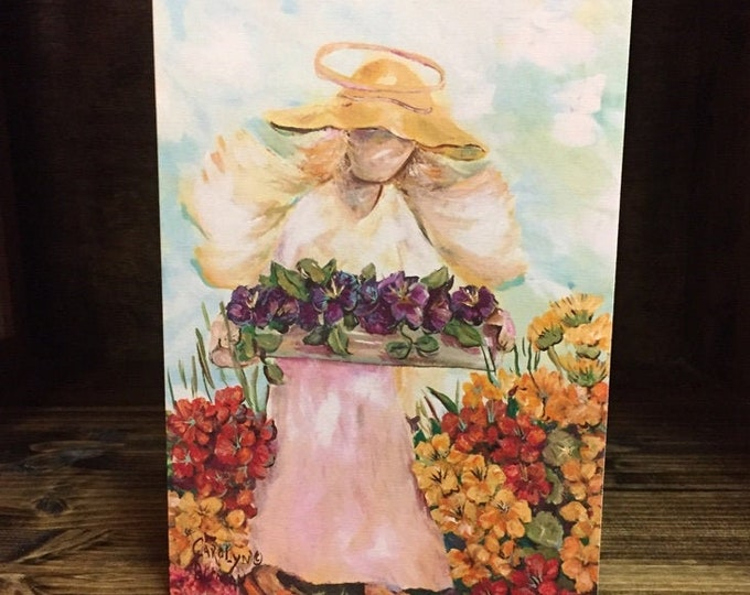 Garden Angel Painting Print Blank Note Card and Greeting Card
