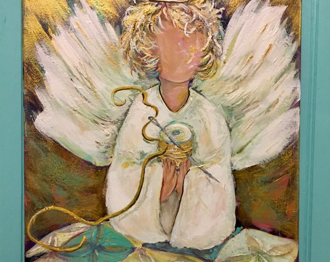 Golden Thread Quilting Angel Painting, Art Prints and Note Cards | Proverbs 31 | Quilters are like angels quilting love in every stitch