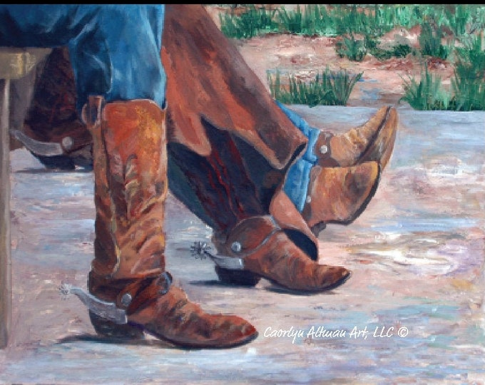 Western Art Print - Waitin at the Cook Shack a canvas art print of cowboy boots and spurs