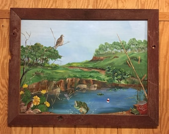 Let's Go Outside Original Painting | Great Outdoors Painting | Large Wildlife Painting | Fishing Pond