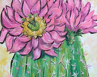 Prickly  Pretty in Pink Cactus Painting and Art Prints