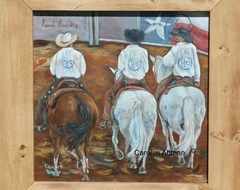 Grand Entry a Waggoner Ranch Painting | Three Cowboys Riding Horses | North Texas Rehab Ranch Rodeo Painting