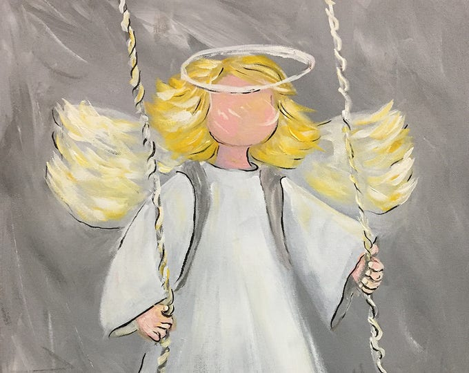 Angel on the Playground Swing Blank Greeting Cards| Swing Low Sweet Angel and Protect Children | Angel Art Prints