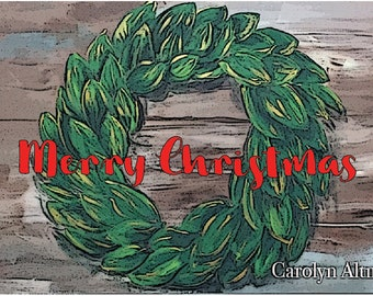 Country Christmas Magnolia Wreath with Merry Christmas Lettering Christmas Cards  Package of 20