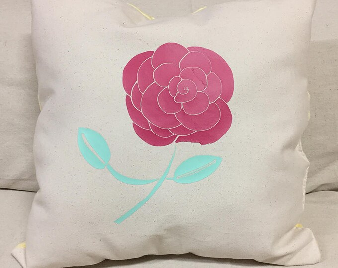 A Simple Rose Design Decorative Pillow | Hot Pink Rose Pillow Design | Canvas Front Pillow | Soft Yellow Pillow Back